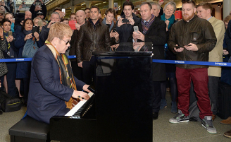 Elton John performs at St Pancras London!!